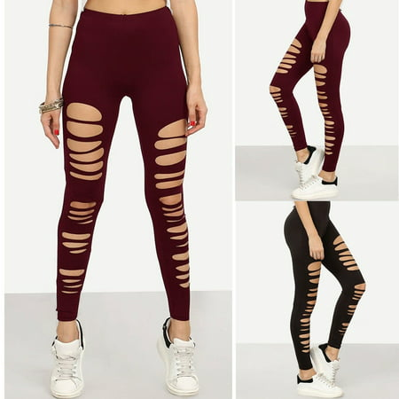 Womens Stretchy Ripped Slim Fit Skinny Leggings Trousers Casual Pencil Pants