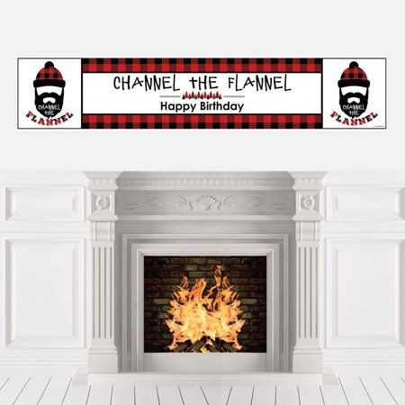 Lumberjack - Channel The Flannel - Buffalo Plaid Birthday Party Decorations Party Banner](Black And Red Happy Birthday Banner)