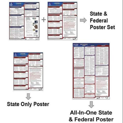 JJ KELLER 400-IN Labor Law Poster,Fed/STA,IN,SP,40Wx26inH G0038249