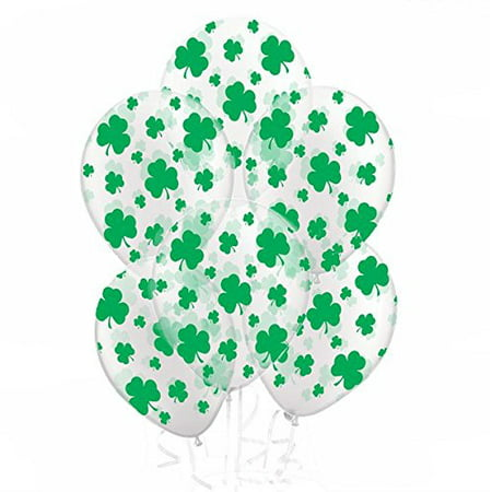 St. Patrick's Day Balloons with Green Shamrocks, Crystal Clear, 11in, 25ct - Patrick Balloon