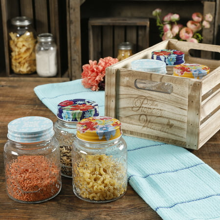 The Pioneer Woman Spring Bouquet 16oz Jars in a Wooden Crate, Set of 6