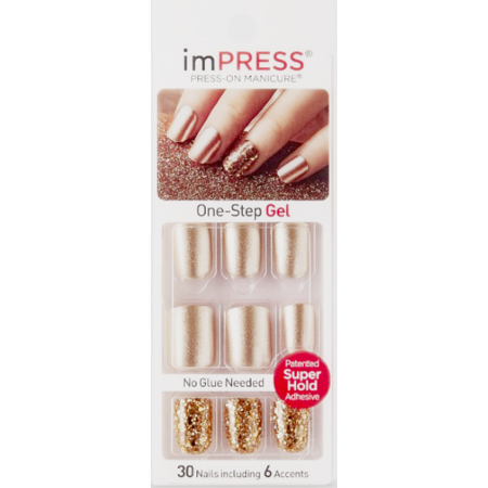 Impress Press On Manicure Ultra Gel Shine Gel Nails Bright As A Feather   24 Ct