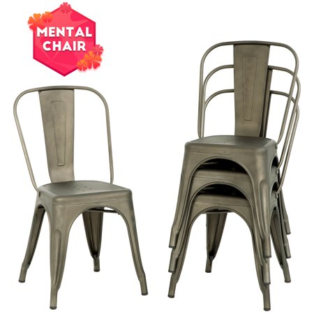 Stackable Chair Restaurant Chair Metal Chair Chic Metal Kitchen Dining Chairs Set of 4 Trattoria Chairs Indoor/Out Door Metal Tolix Side Bar Chairs ()