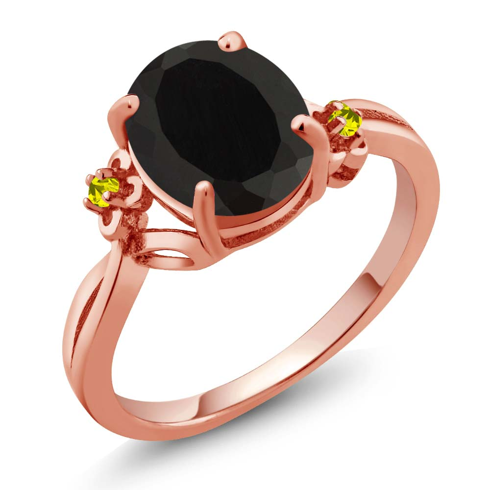 2.22 Ct Oval Black Onyx Diamond Rose Gold Plated Sterling Silver Ring