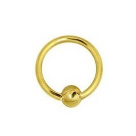 14k Gold Ball Closure Ring (14K Solid Yellow Gold Captive Ball Closure Bead Nipple Ring Body Jewelry 16)