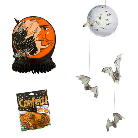 Beistle Witch and Moon Centerpiece with  Beistle Halloween Mobile Hanging Party Decorating Item with Beistle Pumpkin Face - Halloween Pumpkin Faces Pics