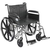 """Drive Medical Sentra EC Heavy Duty Wheelchair with Various Arm Styles and Front Rigging Options, Black, Bariatric 22"""" -"""