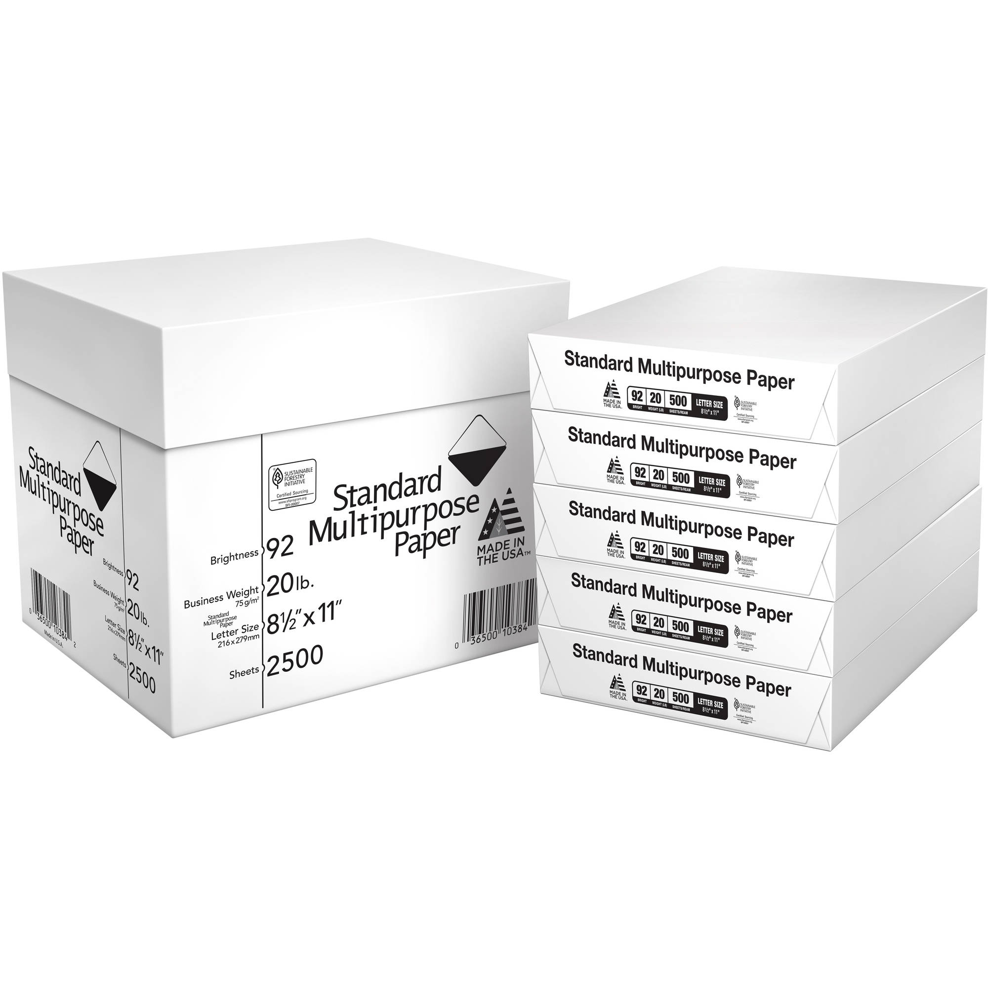"Standard Multipurpose Paper, 8-1/2"" x 11"", 92 Bright, 2500 Sheets, 5 Reams"