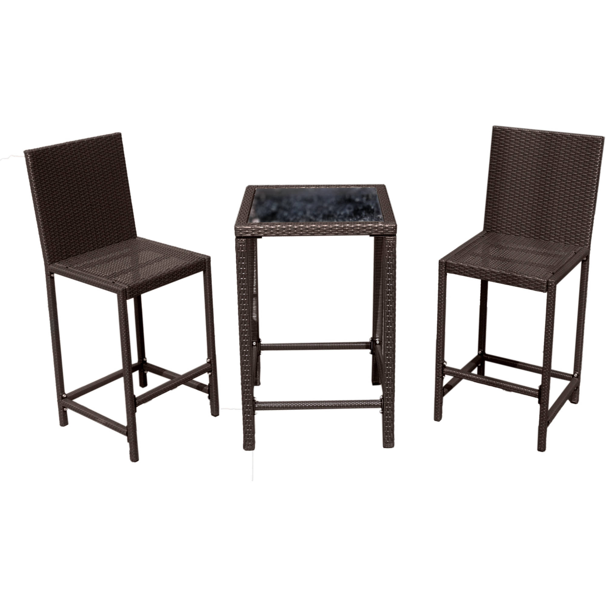 Hiland Bar Height Three-Piece Bistro Set, Mocha Wicker