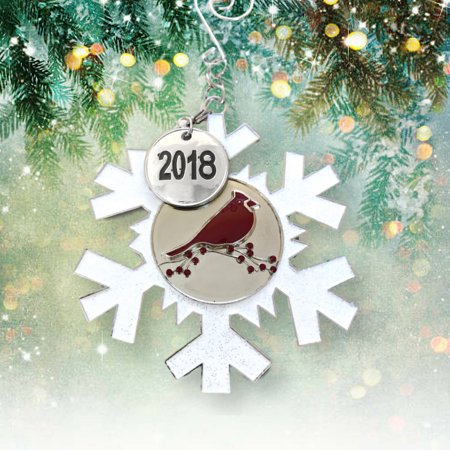 BANBERRY DESIGNS 2018 Dated Christmas Ornament - White Glittered Snowflake with Cardinal Design - Memorial - Cardinal Ornaments
