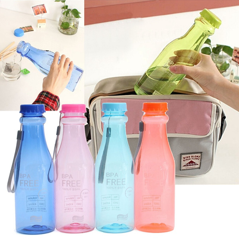 Grtsunsea 650ml Home Camping Hiking Bicycle Bike Sports Outdoor Activities BPA Free Plastic Drink Water Bottle Multi Colors