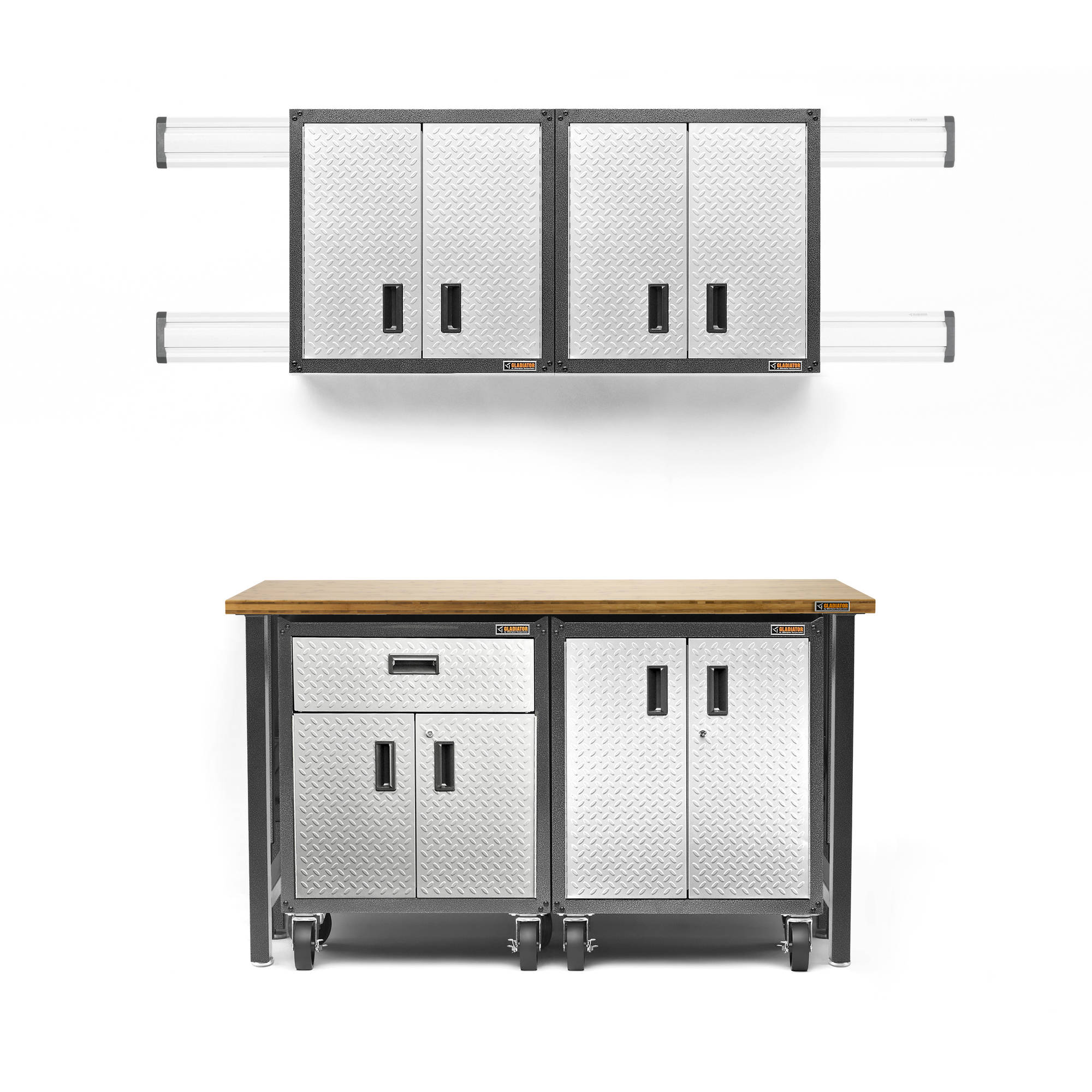 gladiator 28 in w x 12 in d x 28 in h steel fulldoor garage wall cabinet with shelf in silver tread walmartcom - Gladiator Shelving