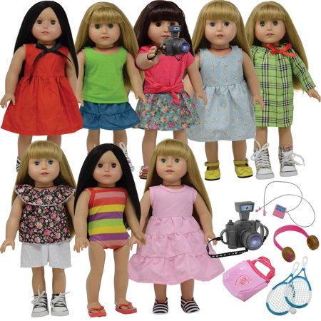 18 Inch Doll Clothes and Doll Accessories fits American Girl Doll - Doll Clothing outfits Wardrobe Makeover ()