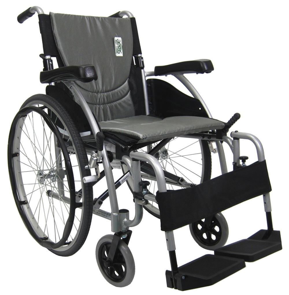 Karman S-Ergo 115  Ultra Lightweight Ergonomic Wheelchair with 3 Seat Widths, Swing Away Footrest-Silver