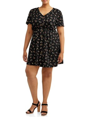 POOF Juniors' Plus Size Ditsy Floral Button Front Dress