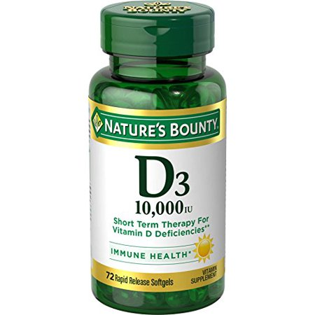 Nature's Bounty D3 10,000 IU Immunity Health Vitamin Supplement 72