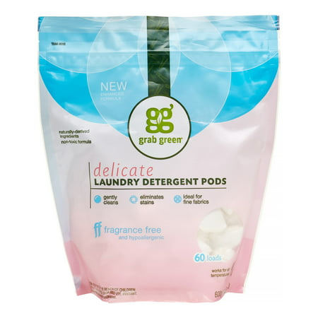 Grab Green Natural Delicate Laundry Detergent Pre-Measured Powder Pods, Fragrance Free, 60 Loads