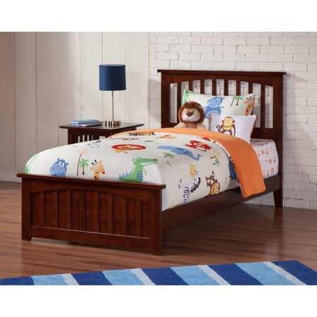 Atlantic Furniture Mission Twin XL Bed with Matching Foot Board in Walnut