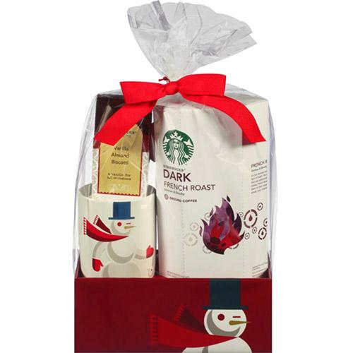 Starbucks Dark French Roast Coffee with Mug & Biscotti Holiday Gift Set