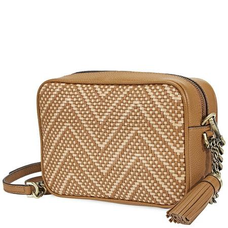 62cc19da4 Michael Kors Ginny Medium Woven Leather Crossbody- Acorn/Butternut -  Walmart.com