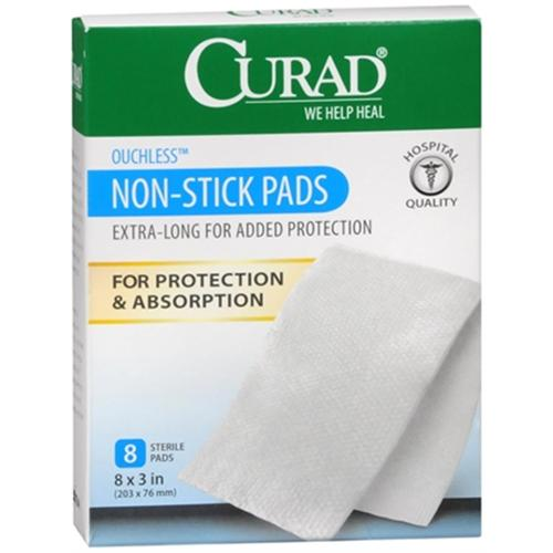 Curad Non-Stick Pads XL 8 Inches X 3 Inches 8 Each (Pack of 4)
