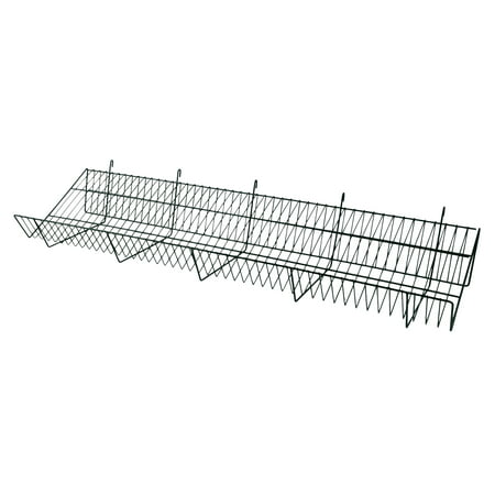 48 x 12 x 6 inch Black Downslope Shelf With 4 Inch Slanted Front Lip - For Wire Grid