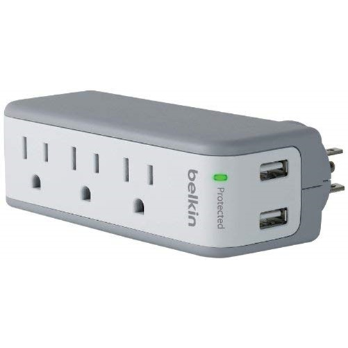 3-Outlet SurgePlus Mini Travel Swivel Charger Surge Protector with Dual USB Ports, 2.1 AMP/10W