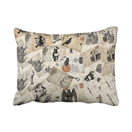 WinHome Modern Vintage Halloween Skull Pumpkin Postcards Elegant Style Polyester 20 x 30 Inch Rectangle Throw Pillow Covers With Hidden Zipper Home Sofa Cushion Decorative Pillowcases