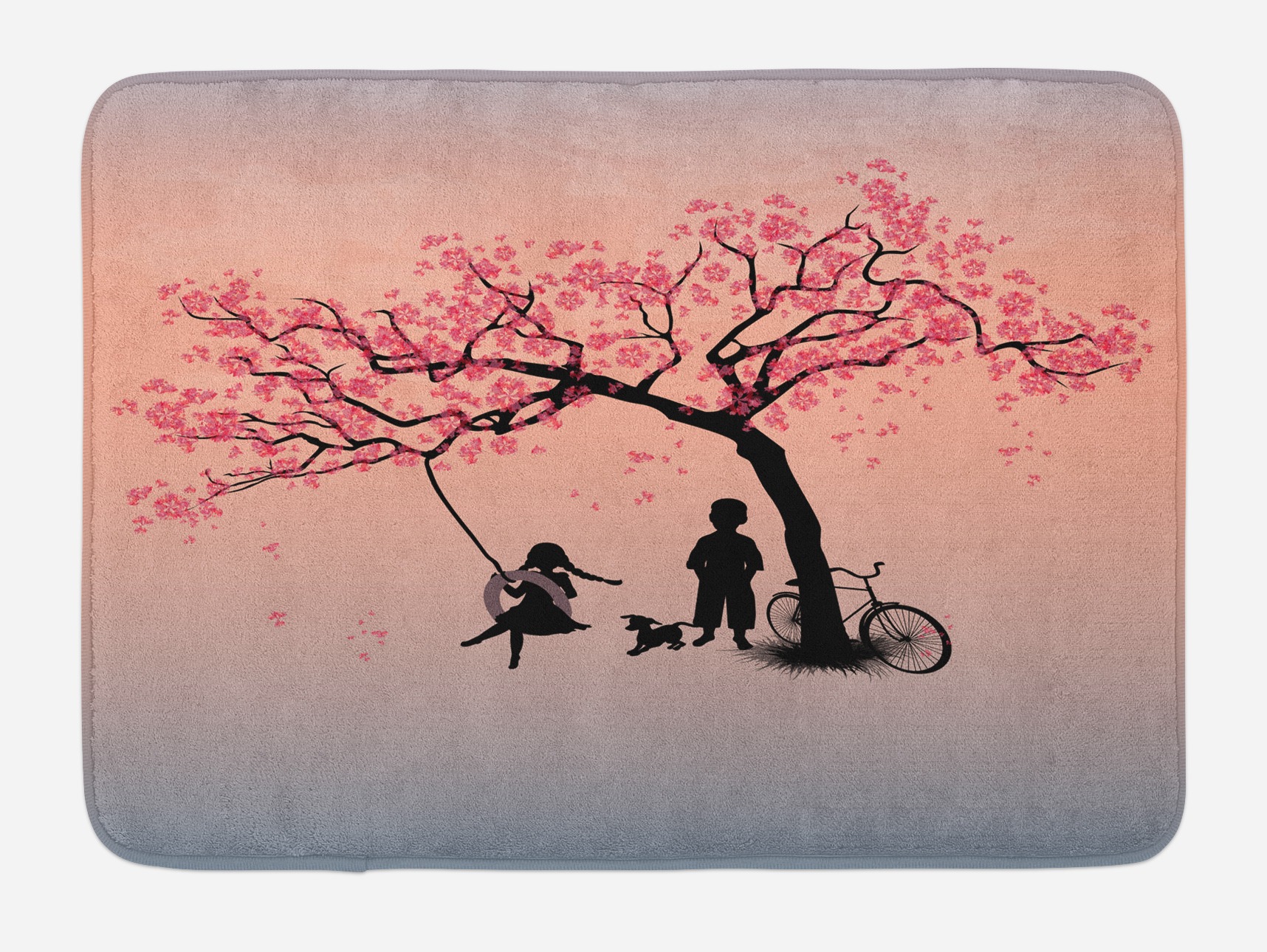 Tree of Life Bath Mat, Children Playing on a Tire Swing under Cherry Tree with Dog Blossom... by 3decor llc