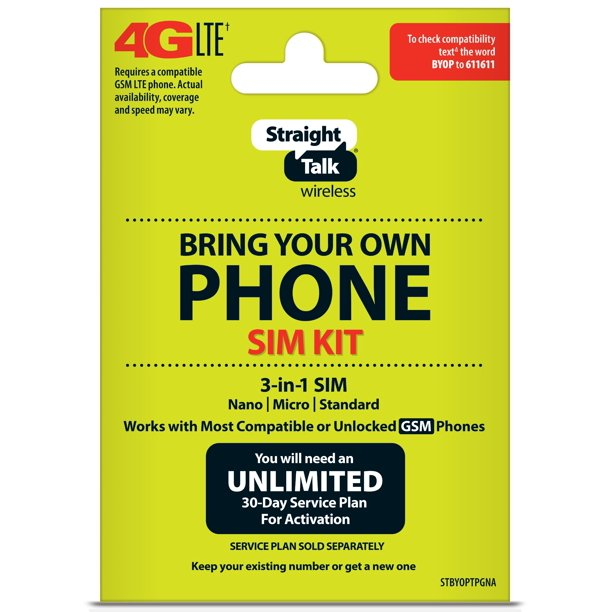 Straight Talk Bring Your Own Phone Sim Kit Tmobile Gsm Compatible Walmart Com Walmart Com