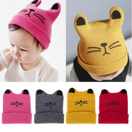 Winter Baby Toddler Kids Boy Girl Knitted Cat Crochet Ear Beanie Warm Hat - Cat Hat Clothing