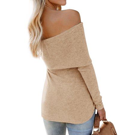 R-mart Women Solid Color Sexy Knit Off Shoulder Long Sleeve Slim Shirt