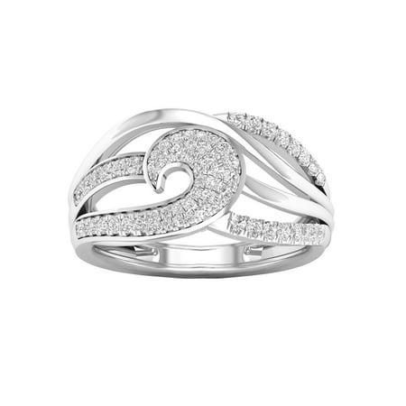 IGI Certified 1/3Ct TDW Diamond 10k White Gold Diamond Swirl Fashion Ring (H-I, I2) Diamond Swirl Fashion Ring