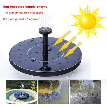 Peralng Solar Bird Bath Fountain Pump,1.4W Floating Solar Panel Kit Submersible Pump for Garden or Patio ()