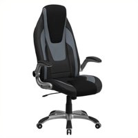 Scranton & Co High Back Vinyl Office Chair in Black and Gray