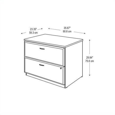 Series A 36W Lateral File Cabinet in Hansen Cherry and Galaxy - image 2 de 4