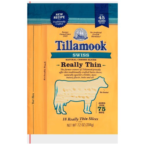 Tillamook® Swiss Really Thin Natural Cheese Slices 7.2 oz. Bag