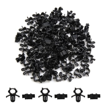 100Pcs Black Plastic Tube Clips Wiring Harness Clamp ... on