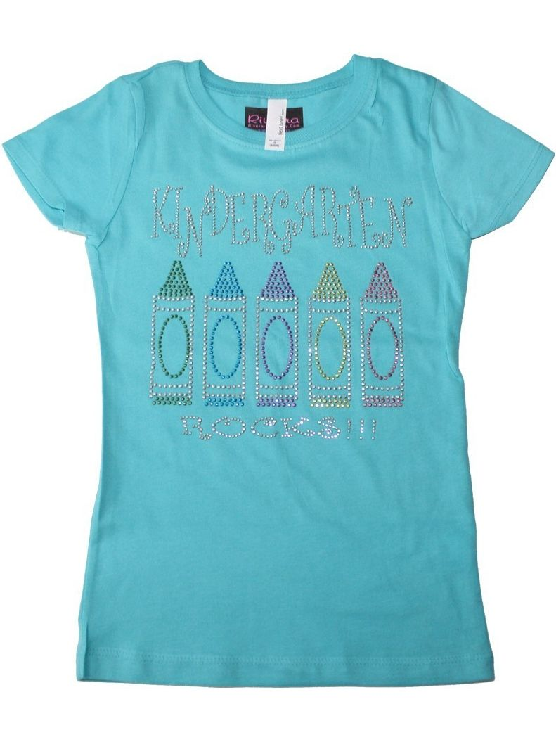 "Girls Aqua ""Kindergarten Rocks"" Bling Cotton T-Shirt"