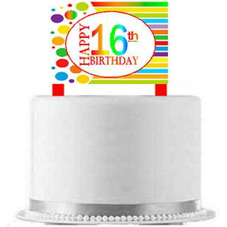 CakeSupplyShop Item#AE-016 Happy 16th Birthday Rainbow Elegant Cake Decoration Topper](16th Birthday Decorations)