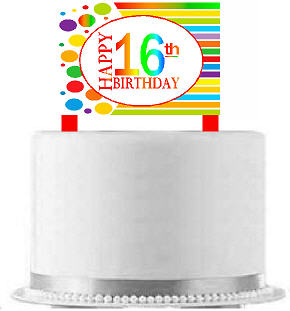 CakeSupplyShop Item#AE-016 Happy 16th Birthday Rainbow Elegant Cake Decoration Topper