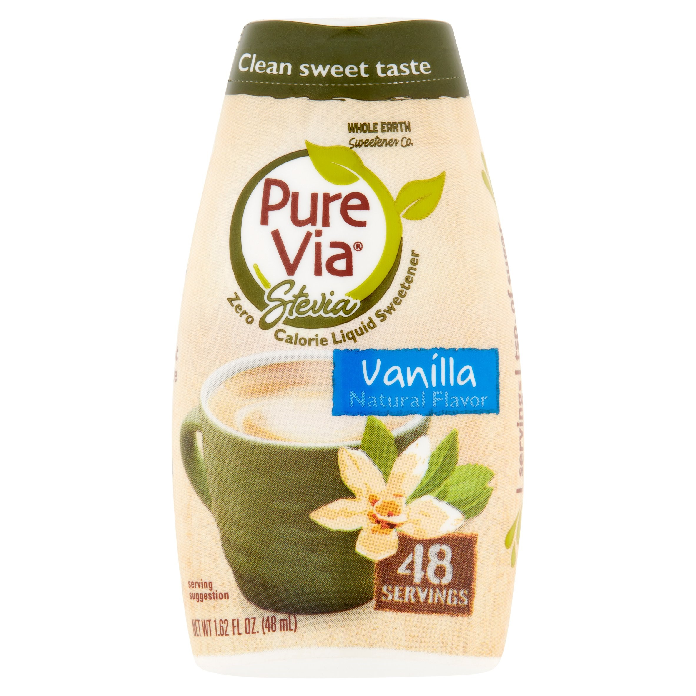 Pure Via Stevia Sweetener Vanilla Simple Squeeze Coffee Sweetener Zero Calorie Sweetener, 1.62 fl oz
