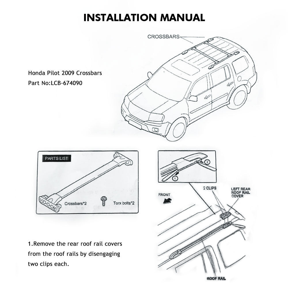 2 Pcs Pack of Aluminum Roof Rack Side Rail Luggage Cross Bar OE Style fit  2009-2015 Honda Pilot - Walmart.com