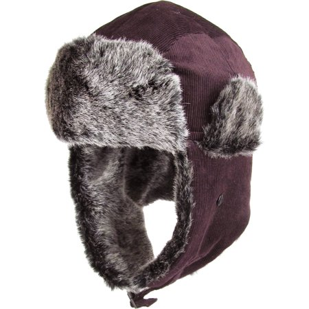 13a641ace6b Burgundy Corduroy Aviator Trapper Hat Winter Cap Ski Warm Fur Cap -  Walmart.com