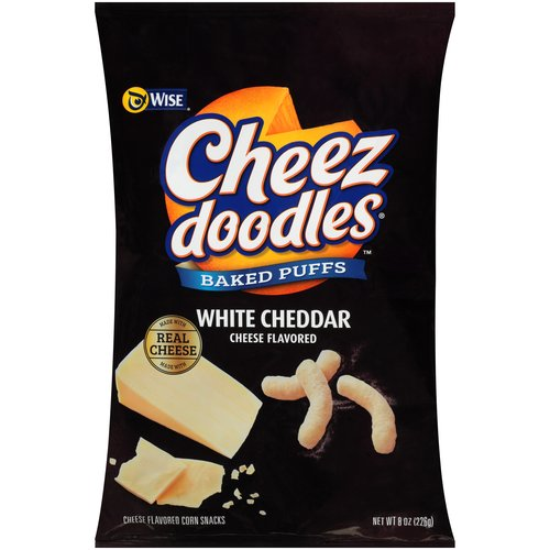 Wise Cheez Doodles Puffed Baked White Cheddar Corn Snacks, 8 oz