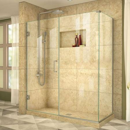 DreamLine Unidoor Plus 58 1/2 in. W x 30 3/8 in. D x 72 in. H Frameless Hinged Shower Enclosure in Brushed Nickel