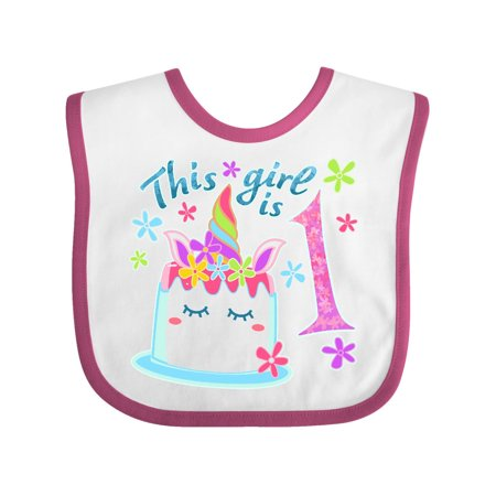 This Girl Is One Unicorn Birthday Cake Baby Bib