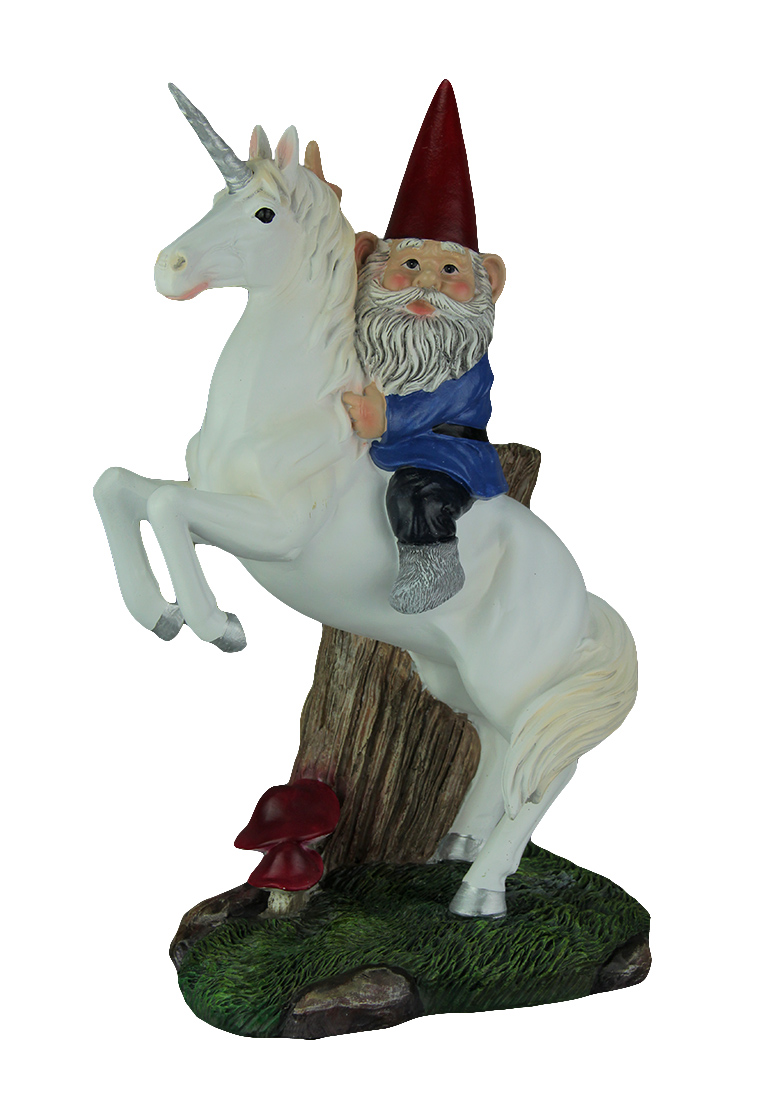 Things2Die4 Magical Adventure Garden Gnome Riding White Unicorn Statue by DWK Corporation