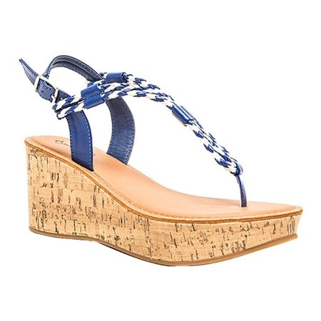 Qupid Women's Bali Strappy Braided Platform Wedge Sandal, Cobalt Blue, Size 6.5