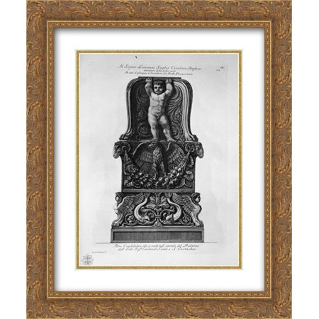 Giovanni Battista Piranesi 2x Matted 20x24 Gold Ornate Framed Art Print 'Candlestick in the courtyard of the Palazzo Lante in St.